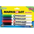 Marks-A-Lot ® Pen Style Dry Erase Marker, Fine Point, Assorted, 4/Set