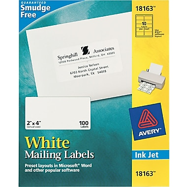 Avery 2in. x 4in. Inkjet/Laser Shipping Labels, White, 10/Pack (18163 )