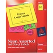 "Avery 8.5"" x 11"" Laser High-Visiblity Shipping Labels, Assorted Color, 15/Pack (5975)"