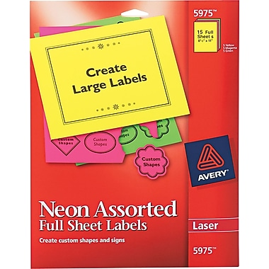 Avery ® 5975 Assorted High-Visibility Label, 8 1/2in.(W) x 11in.(L), 15/Pack
