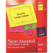 Avery ® 5975 Assorted High-Visibility Label, 8 1/2(W) x 11(L), 15/Pack
