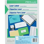 Avery ® PRES-a-ply ® 30605 White Address Label, 8 1/2(W) x 11(L), 100/Box