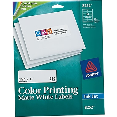 Avery® 8252 White Print To The Edge Mailing Label, 1 1/3in.(W) x 4in.(L), 280/Pack