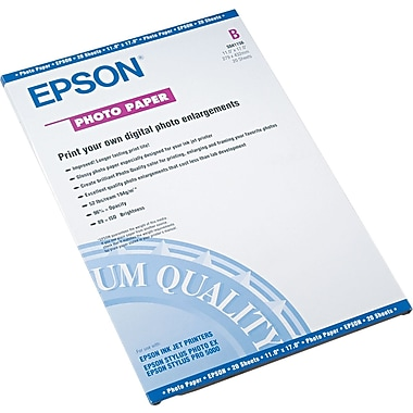 Epson® Glossy Photo Paper, White, 11in.(W) x 17in.(L), 20/Pack