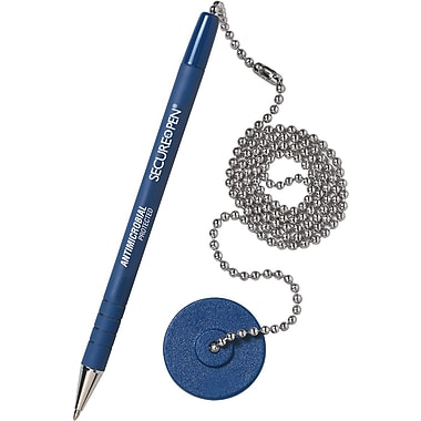 MMF Industries™ Secure-A-Pen® Counter Pen, Medium, Blue Ink