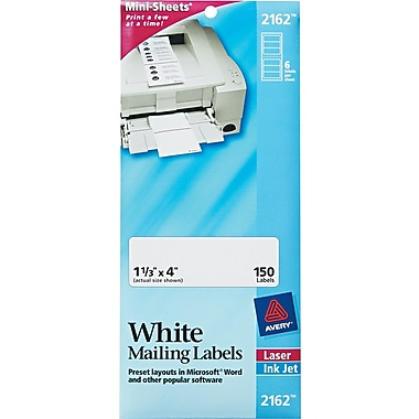 Avery® Mini-Sheets® 2162 White Address Label, 1 1/3in.(W) x 4in.(L), 150/Pack