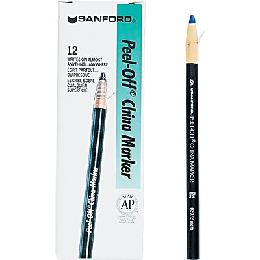 Sharpie  Peel-Off China Marker, Blue, Dozen