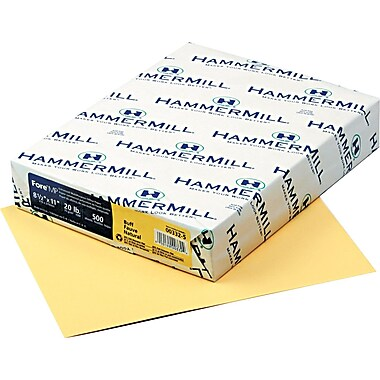 Hammermill® Fore® MP Recycled Color Paper, Buff, 8 1/2in.(W) x 11in.(L), 500/Ream