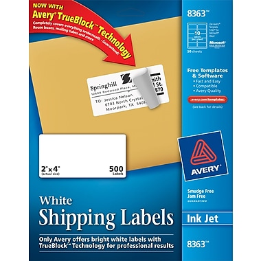 Avery ® 8363 White Shipping Label With TrueBlock ® Technology, 2in.(W) x 4in.(L), 500/Box