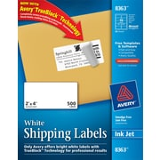 "Avery ® 8363 White Shipping Label With TrueBlock ® Technology, 2""(W) x 4""(L), 500/Box"