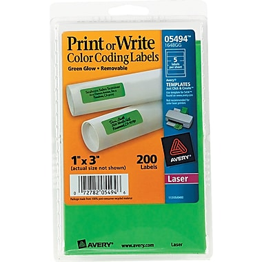 Avery ® 05494 Print Or Write Removable Color-Coding Label, Neon Green, 1in.(W) x 3in.(L), 200/Pack