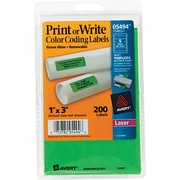 Avery ® 05494 Print Or Write Removable Color-Coding Label, Neon Green, 1(W) x 3(L), 200/Pack