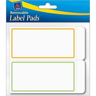 Avery® Removable Label Pad, White, Neon Green/Orange Borders, 2in.(W) x 4in.(L)