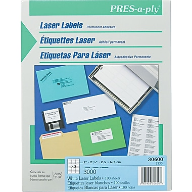 Avery ® PRES-a-ply ® 30600 White Laser Address Label, 1in.(W) x 2 5/8in.(L), 3000/Box