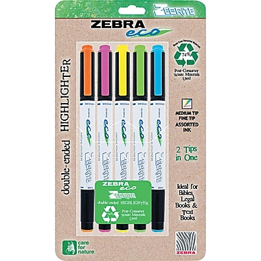 Zebra Eco Zebrite Double-Ended Highlighter, Chisel/Fine Tip, Assorted