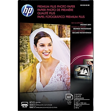 HP Premium Plus Photo Paper, White, Glossy, 4in.(W) x 6in.(L), 60/Pack
