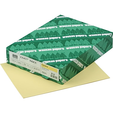 Wausau Paper  Exact  Index Card Stock, 8 1/2in.(L) x 11in.(W), Canary, 110 lbs.