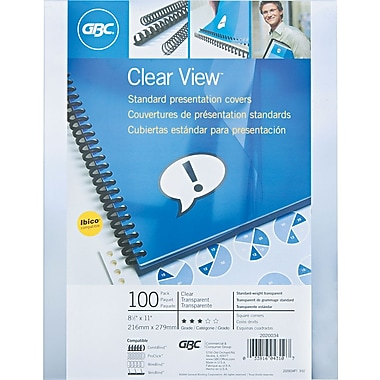 Swingline™ GBC® Clear View™ Presentation Cover, 8 1/2in.(W) x 11in.(L), Clear