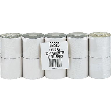 PM Company® Impact Printing Carbonless Paper Roll, Assorted, 2 1/4in.(W) x 70'(L), 10/Pack