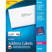 Avery ® 45160 White Paper Address Label, 1(W) x 2 5/8(L), 7500/Box