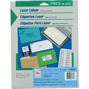Avery ® PRES-a-ply ® 30617 White Laser Address Label, 1/2(W) x 1 3/4(L), 2000/Pack