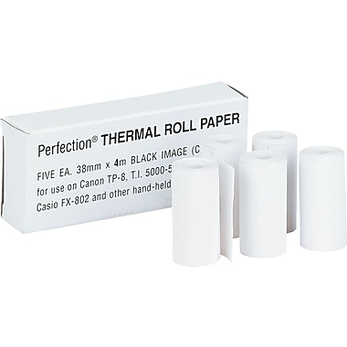 PM Company ® Direct Thermal Printing Calculator Paper Roll, White, 1 1/2in.(W) x 14'(L), 5/Pack