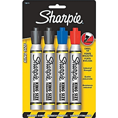 Sharpie King Size Permanent Markers, Chisel Tip, Assorted, 4 Pack