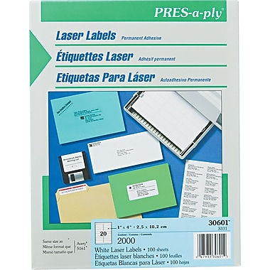 Avery ® PRES-a-ply ® 30601 White Laser Address Label, 1in.(W) x 4in.(L), 2000/Box