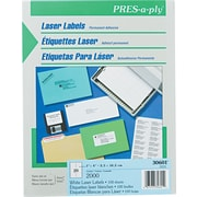 Avery ® PRES-a-ply ® 30601 White Laser Address Label, 1(W) x 4(L), 2000/Box