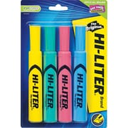 HI-LITER ® Desk Style Highlighter, Chisel Tip, Assorted, 4/Pack
