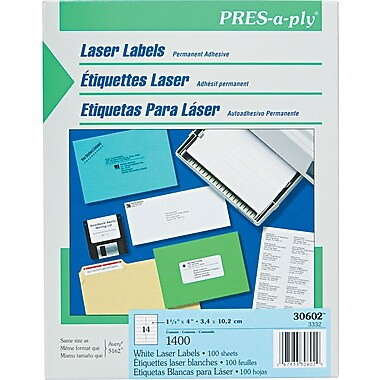 Avery ® PRES-a-ply ® 30602 White Address Label, 1 1/3in.(W) x 4in.(L), 1400/Box