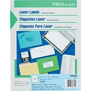 "Avery PRES-a-ply 1.33"" x 4"" Laser Address Labels, White 100/Pack (30602)"