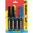 Marks-A-Lot® Permanent Marker, Chisel Tip, Assorted, 4/Pack