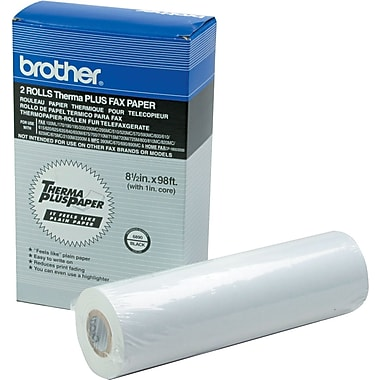 Brother  98' ThermaPlus Fax Paper Roll, White, 8 1/2in.(W) x 98'(L), 2/Pack
