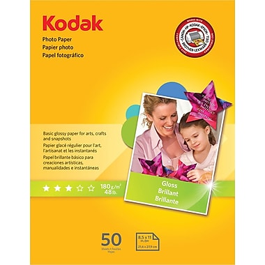Kodak Photo Paper, White, 8 1/2in.(W) x 11in.(L), 50/Pack