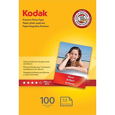 Kodak Premium Glossy Photo Paper, White, 4in.(W) x 6in.(L), 100/Pack