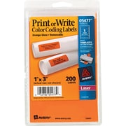 "Avery ® 05477 Print Or Write Removable Color-Coding Label, Neon Orange, 1""(W) x 3""(L), 200/Pack"