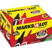 Marks-A-Lot ® Permanent Marker, Chisel, Black/Red, 24/Pack