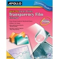 Apollo® Inkjet Printer Transparency Film, Clear, 8 1/2in.(W) x 11in.(H), 50/Box