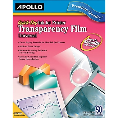 Apollo® Inkjet Printer Transparency Film, Clear, 8 1/2