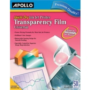 "Apollo® Quick Dry Color and Black for HP Ink Jet Transparency Sheets With Sensing Stripe, 50 Sheets, 8.5"" x 11"""