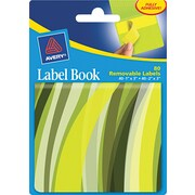 Avery® 22069 Removable Label Pad Book, 1(W) x 3(L) Neon Yellow, 2(W) x 3(L) Neon Green, 80/Pack