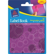 Avery® 22068 Removable Label Pad Book, 1(W) x 3(L) Neon Magenta, 2(W) x 3(L) Purple, 80/Pack