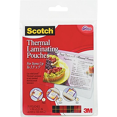 Scotch® Laminating Pouch, 5 mil, 5 3/8in.(H) x 3 3/4in.(W), 20/Pack