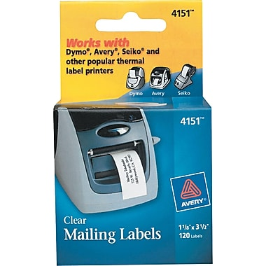 Avery ® 4151 Clear Self-Adhesive Label, 1 1/8in.(W) x 3 1/2in.(L), 120/Box