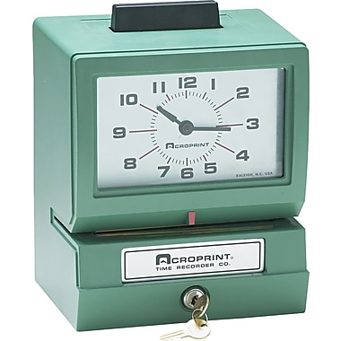 Acroprint  Heavy-Duty Analog Manual Print Time Recorder, Day/0-23 Hours/Minutes In Decimal 100Ths