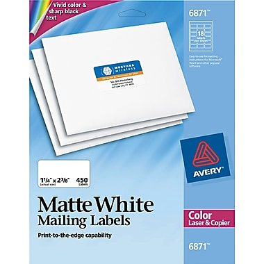 Avery® 6871 White Print To The Edge Mailing Label, 1 1/4in.(W) x 2 3/8in.(L), 450/Pack