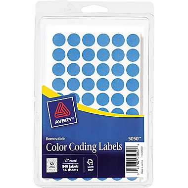 Avery ® 05050 Removable Self-Adhesive Round Paper Color-Coding Label, Light Blue, 1/2in.(Dia), 840/Pack