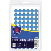 "Avery ® 05050 Removable Self-Adhesive Round Paper Color-Coding Label, Light Blue, 1/2""(Dia), 840/Pack"