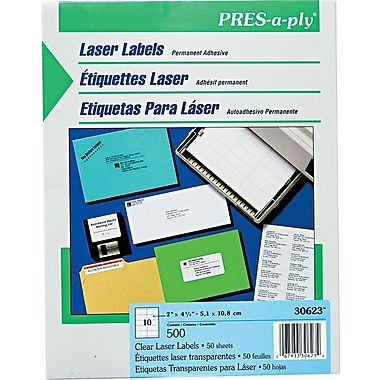 Avery® PRES-a-ply® 30623 Clear Address Label, 2in.(W) x 4 1/4in.(L), 500/Box